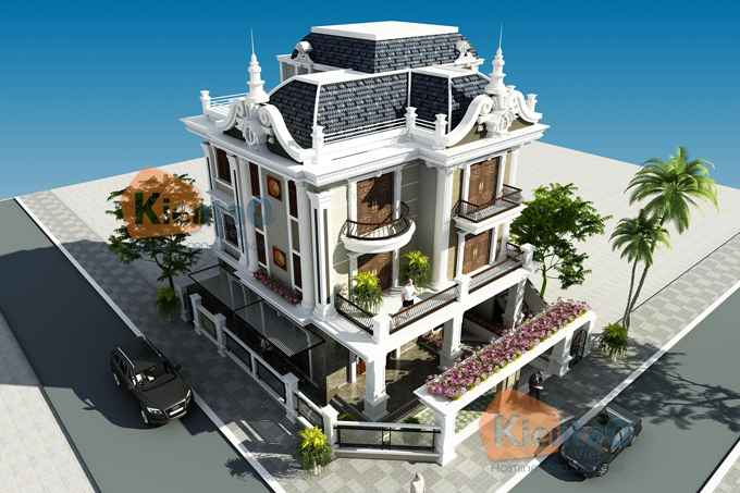 Mẫu biệt thự 3 tầng 138m2 cổ điển Đông Âu tại Văn Khê, Hà Đông, Hà Nội - Phối cảnh 01