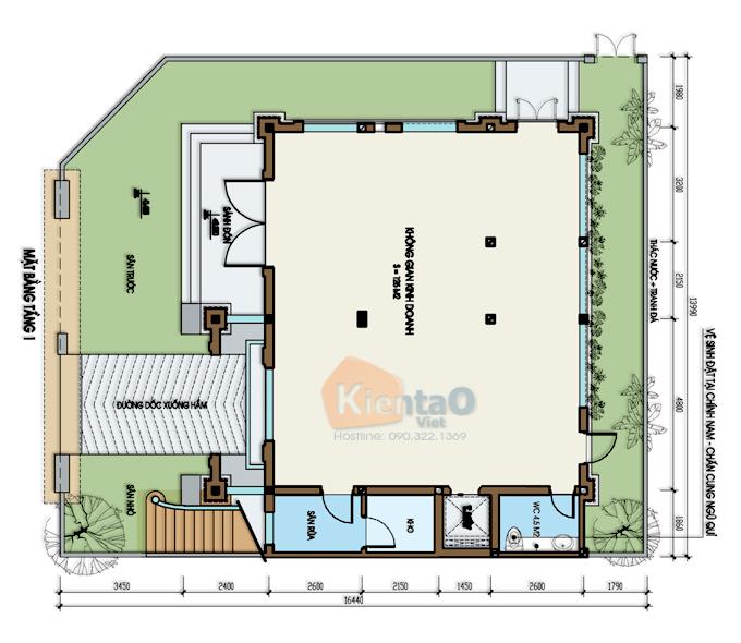 Mẫu biệt thự 3 tầng 138m2 cổ điển Đông Âu tại Văn Khê, Hà Đông, Hà Nội - Công năng tầng 1