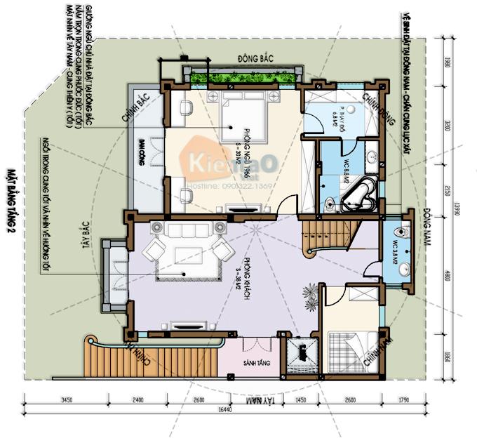 Mẫu biệt thự 3 tầng 138m2 cổ điển Đông Âu tại Văn Khê, Hà Đông, Hà Nội - Công năng tầng 2