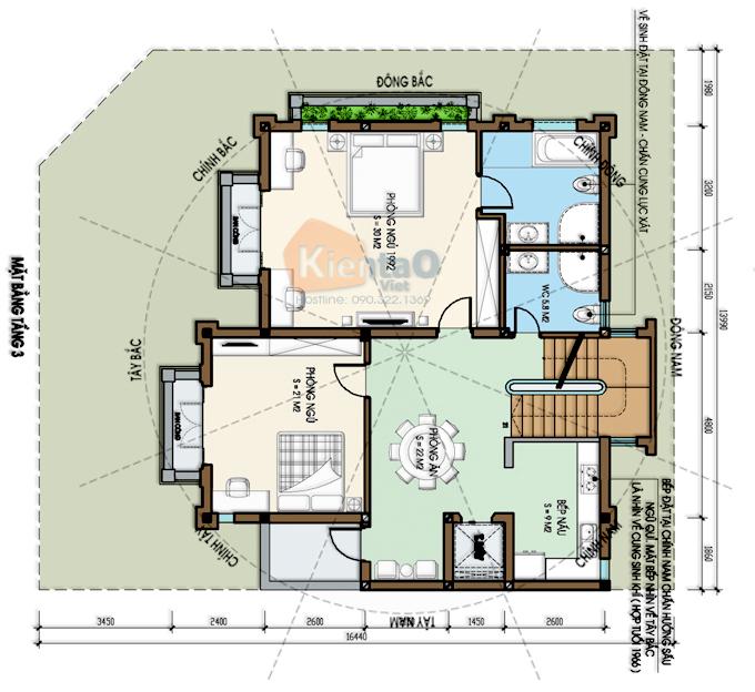 Mẫu biệt thự 3 tầng 138m2 cổ điển Đông Âu tại Văn Khê, Hà Đông, Hà Nội - Công năng tầng 3