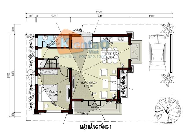 Mẫu biệt thự Pháp 3 tầng 85m2 tại Gia Lâm chi phí 1,9 tỷ đồng - Công năng tầng 1