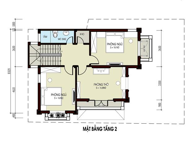 Mẫu biệt thự Pháp 3 tầng 85m2 tại Gia Lâm chi phí 1,9 tỷ đồng - Công năng tầng 2