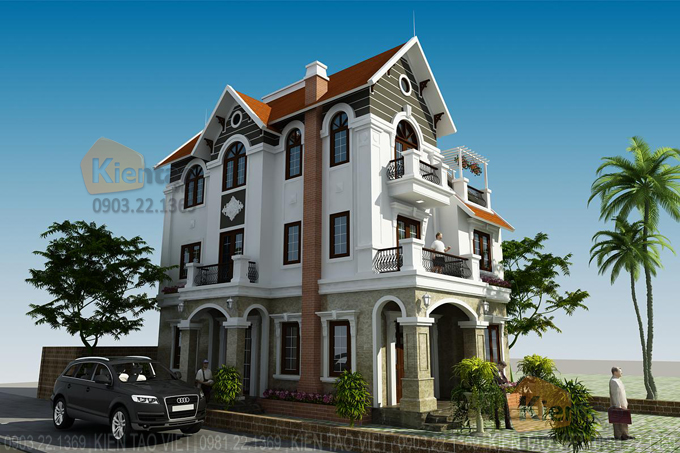 Thiết kế cải tạo biệt thự 3 tầng 95m2 tại Gleximco Dương Nội, Hà Nội - Phối cảnh 01