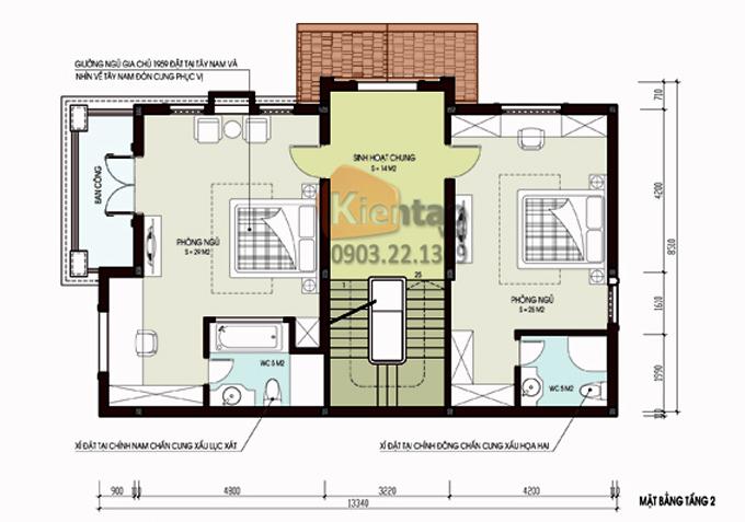 Thiết kế cải tạo biệt thự 3 tầng 95m2 tại Gleximco Dương Nội, Hà Nội - Công năng tầng 2