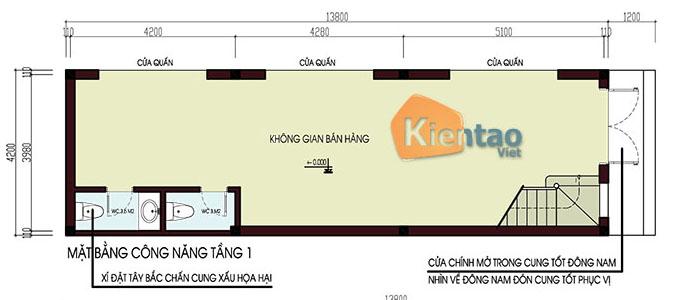 Nhà ống 2 mặt tiền kết hợp kinh doanh 3 tầng 1 lửng 1 tum 4.2x15m tại Hưng Yên - Công năng tầng 1