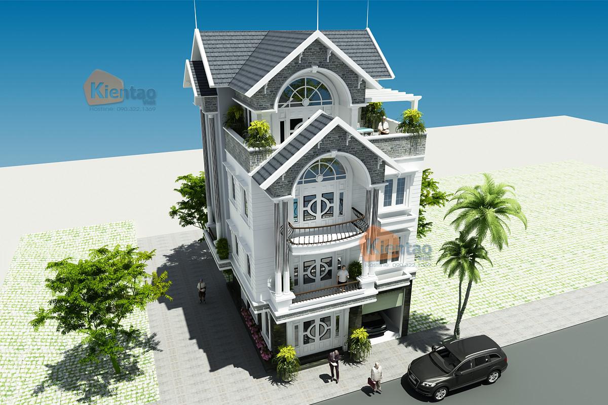 Thiết kế biệt thự lô góc cao 4 tầng tại Nam Đinh - Phối cảnh 1