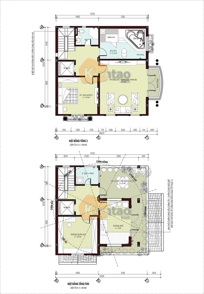 Thiết kế biệt thự lô góc cao 4 tầng tại Nam Đinh - Mặt bằng tầng 3+4