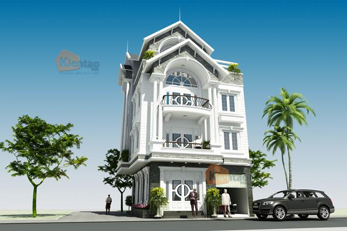 Thiết kế biệt thự lô góc cao 4 tầng tại Nam Đinh - Phối cảnh 3