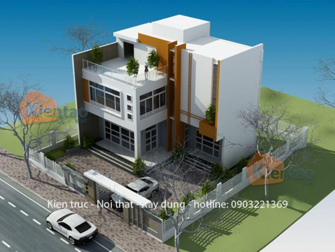 Phối cảnh góc - Mẫu nhà biệt thự 2 tầng đẹp tại Hà Nội