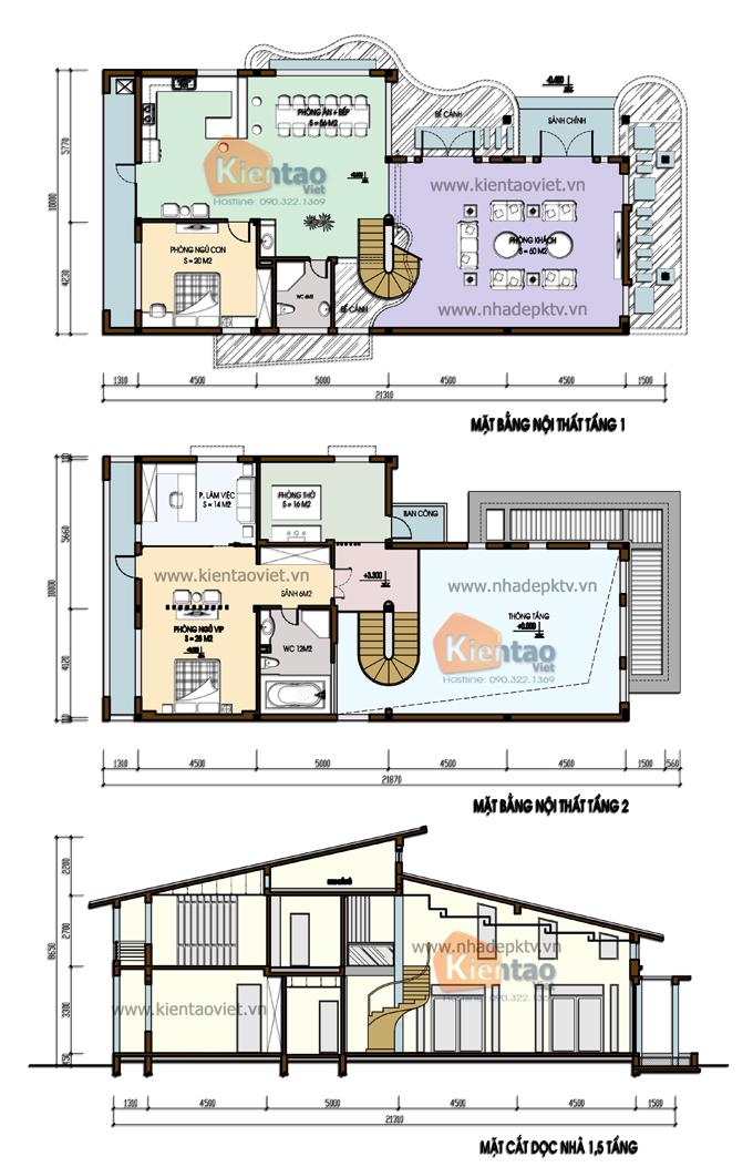 Mẫu thiết kế biệt thự đẹp 2 tầng. 1