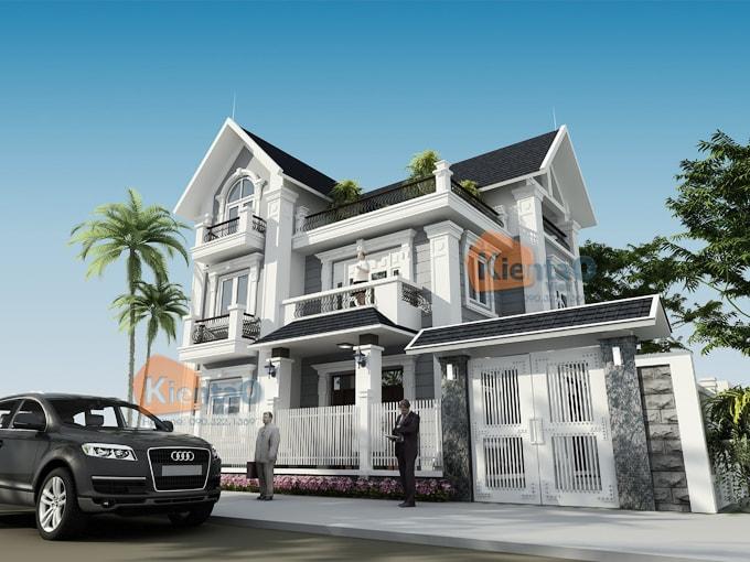 Thiết kế biệt thự 2 tầng 3 tầng 4 tầng - Mẫu biệt thự 3 tầng rộng 9x11m - PC 01