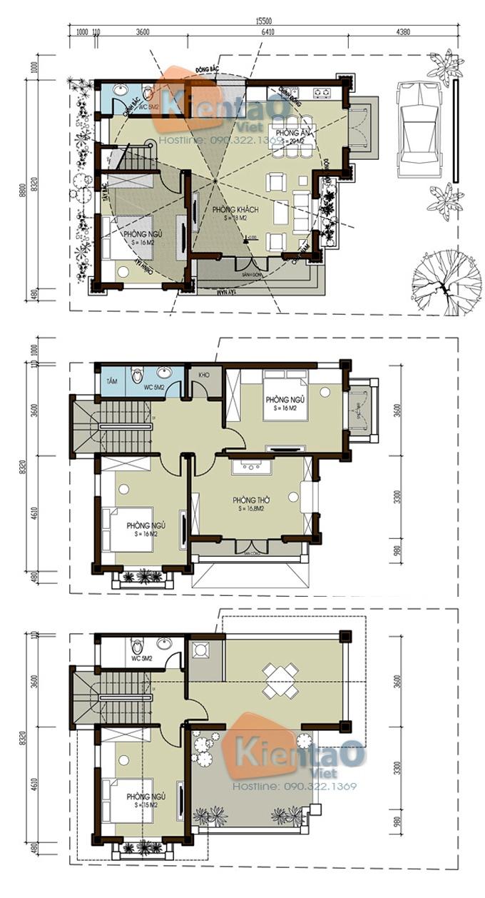 Thiết kế biệt thự 2 tầng 3 tầng 4 tầng - Mẫu biệt thự 3 tầng rộng 9x11m - MB