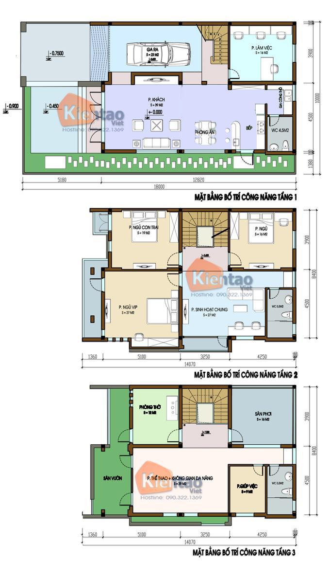 Thiết kế biệt thự 3 tầng hiện đại 1