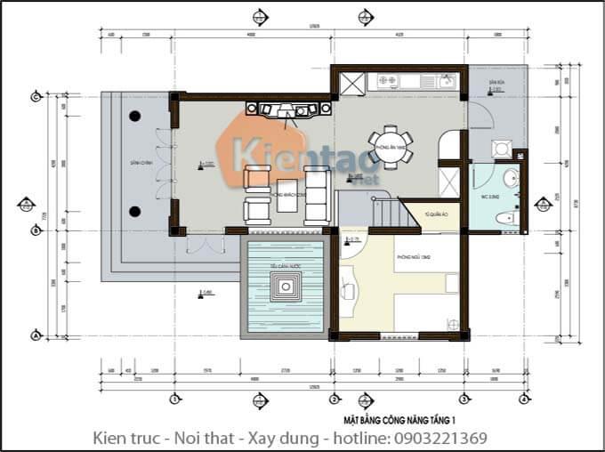 Công năng tầng 1 biệt thự 2 tầng mái thái chữ L
