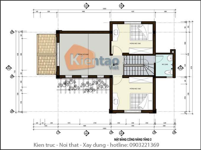 Công năng tầng 2 biệt thự 2 tầng mái thái chữ L