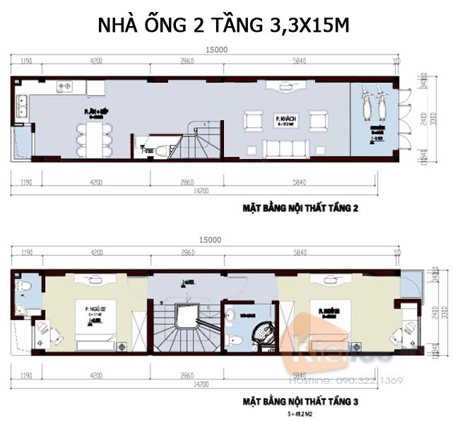 Các bản vẽ nhà ống 2 tầng rộng 3m 4m 5m - S=3x15m