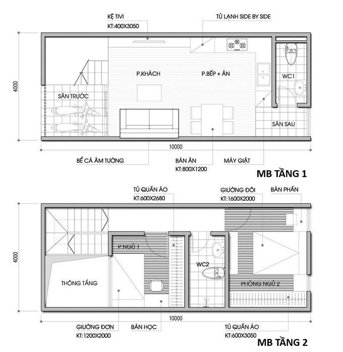 Các bản vẽ nhà ống 2 tầng rộng 3m 4m 5m - S=Các bản vẽ nhà ống 2 tầng rộng 3m 4m 5m - S=4x10m