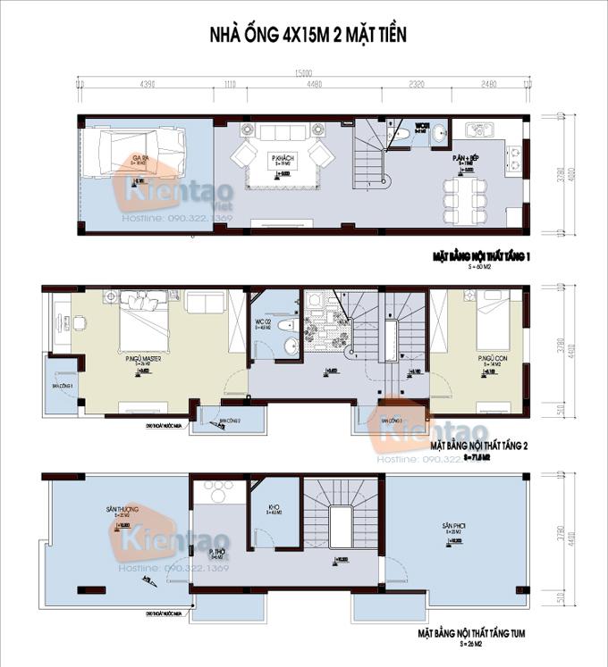 Các bản vẽ nhà ống 2 tầng rộng 3m 4m 5m - S=Các bản vẽ nhà ống 2 tầng rộng 3m 4m 5m - S=4x14m