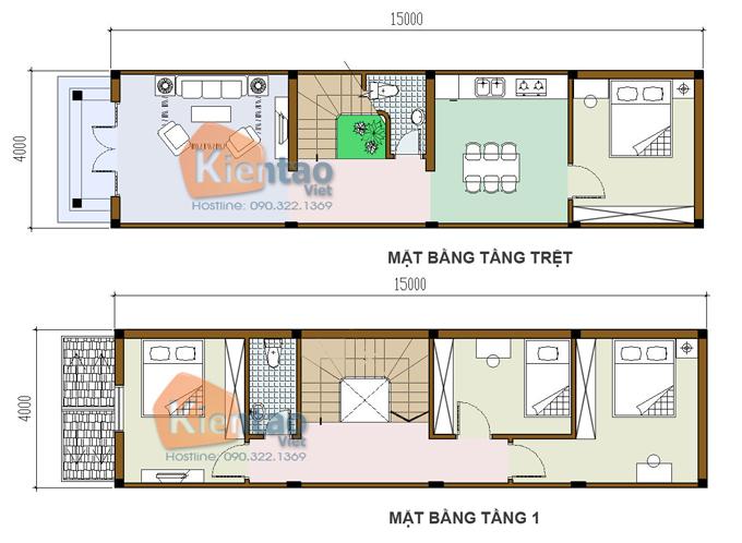Các bản vẽ nhà ống 2 tầng rộng 3m 4m 5m - S=Các bản vẽ nhà ống 2 tầng rộng 3m 4m 5m - S=4x15m