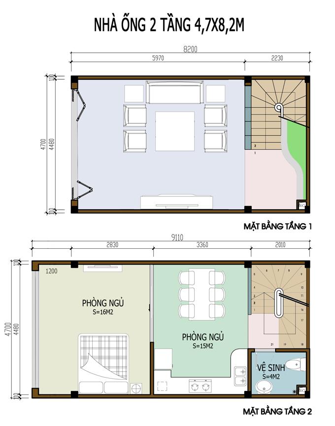 Các bản vẽ nhà ống 2 tầng rộng 5m - S=5x8m