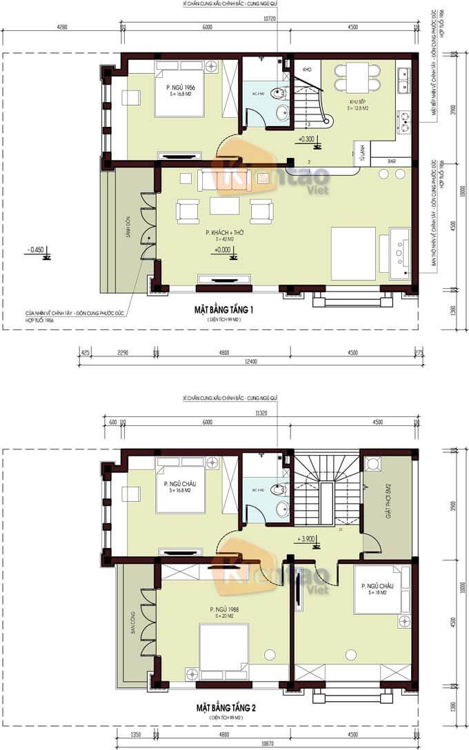 Bản vẽ thiết kế biệt thự 2 tầng tại Hải Phòng