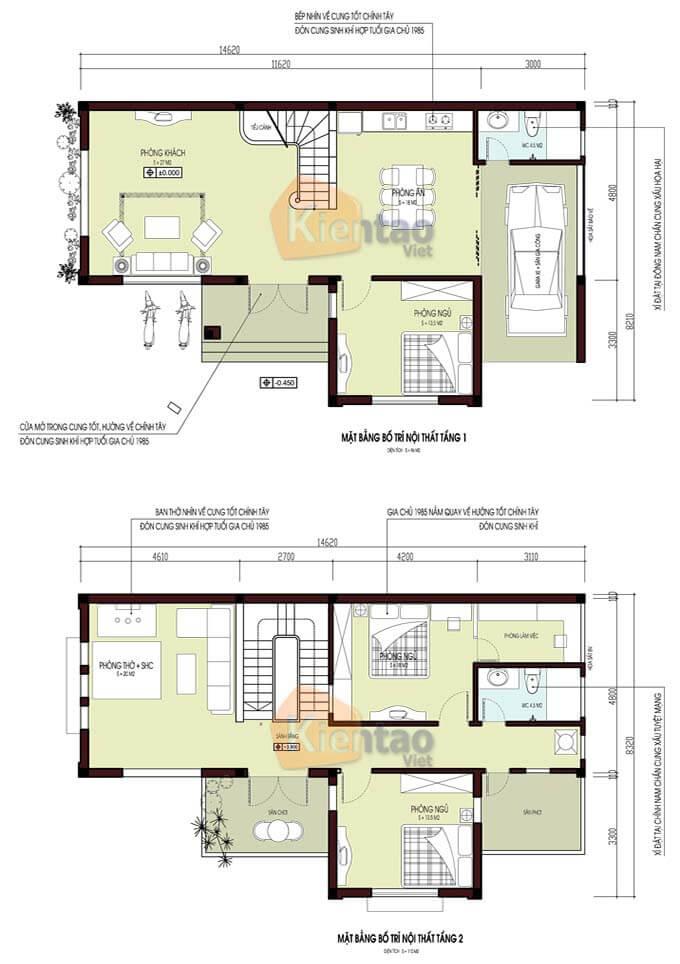 Bản vẽ thiết kế biệt thự 2 tầng tại Vĩnh Phúc