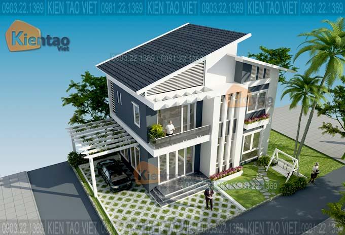 Thiết kế biệt thự tại Hà Nội 2 tầng mái lệch hiện đại