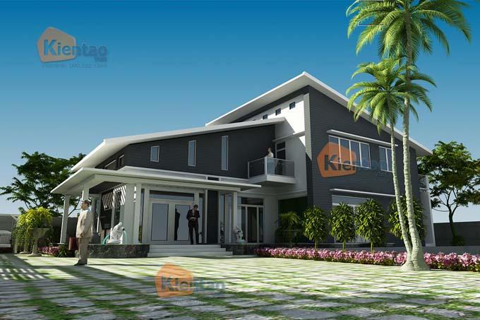 Thiết kế kiến trúc biệt thự hiện đại mái lệch tại Thái Bình