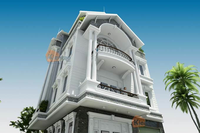 Phối cảnh góc biệt thự tân cổ điển tại Nam Định