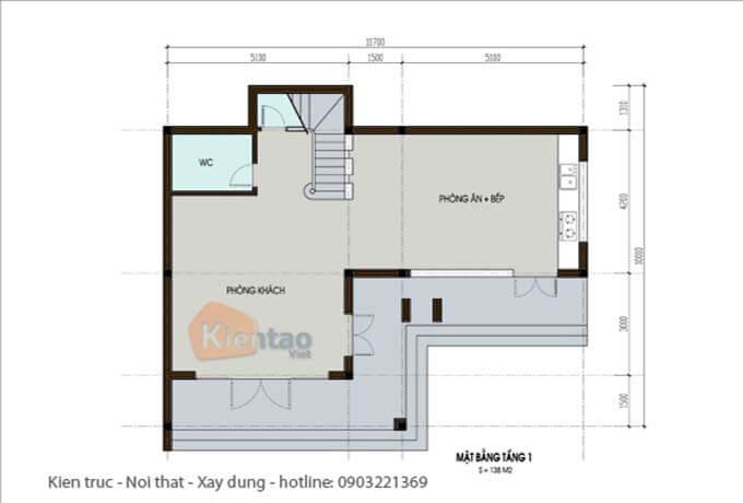 Công năng tầng 1 - Thiết kế biệt thự 2 tầng tại Hà Nội