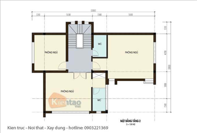 Công năng tầng 2 - Thiết kế biệt thự 2 tầng tại Hà Nội