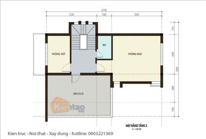 Công năng tầng tum - Thiết kế biệt thự 2 tầng tại Hà Nội