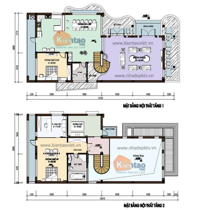 Mặt bằng biệt thự 2 tầng - Mẫu 10