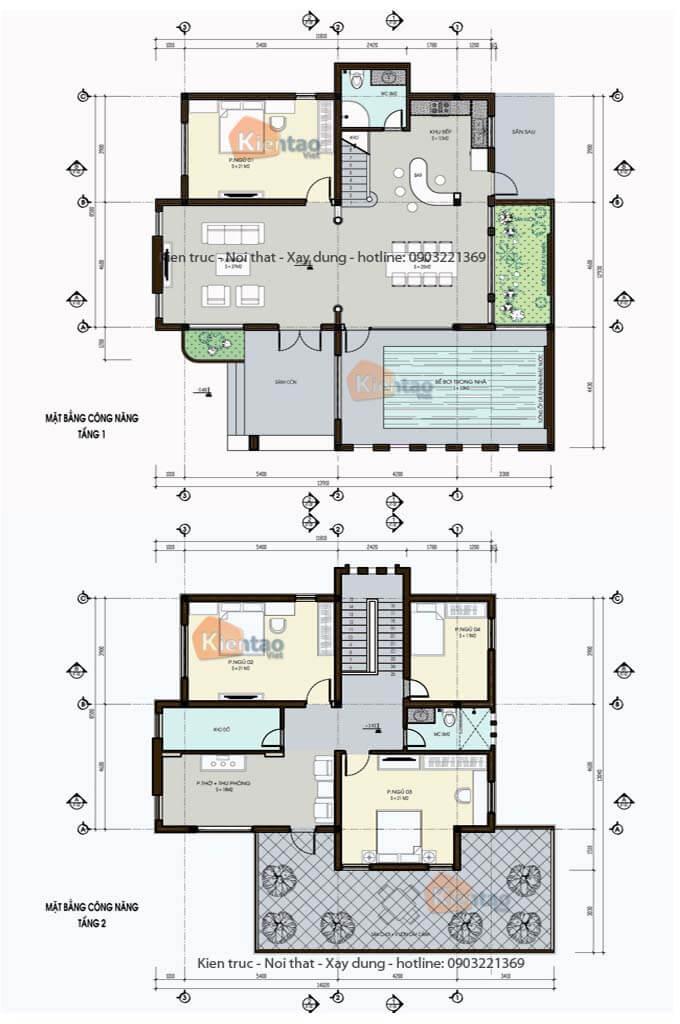 Mặt bằng biệt thự 2 tầng - Mẫu 02