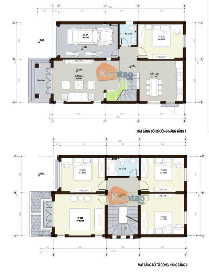 Mặt bằng biệt thự 2 tầng - Mẫu 03