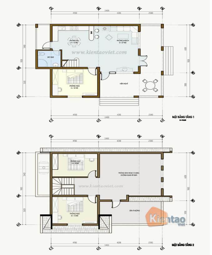 Mặt bằng biệt thự 2 tầng - Mẫu 04
