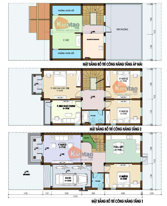 Mặt bằng biệt thự 2 tầng - Mẫu 06