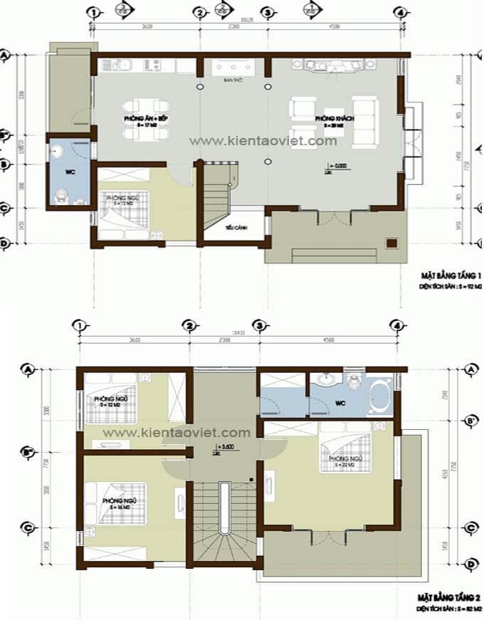 Mặt bằng biệt thự 2 tầng - Mẫu 07