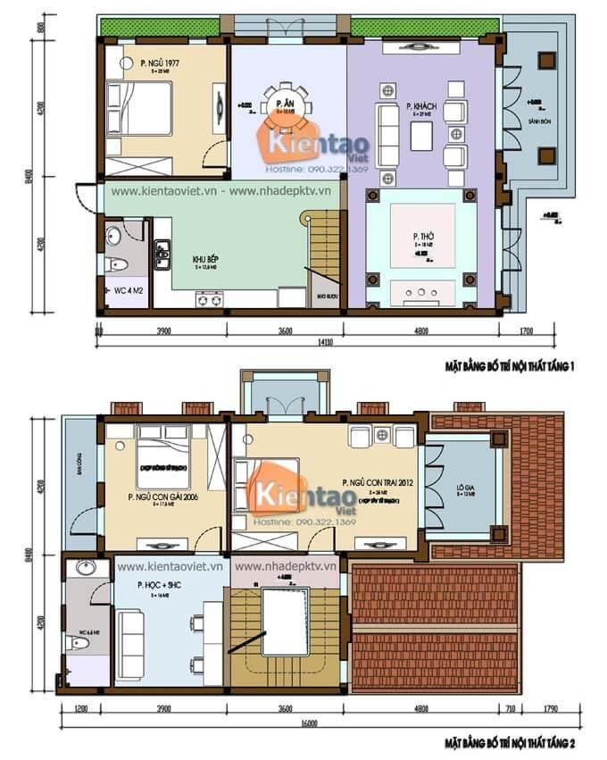 Mặt bằng biệt thự 2 tầng - Mẫu 08