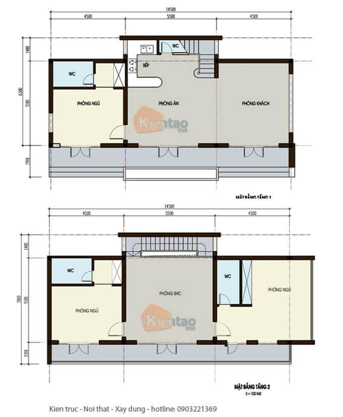 Mặt bằng biệt thự 2 tầng - Mẫu 09