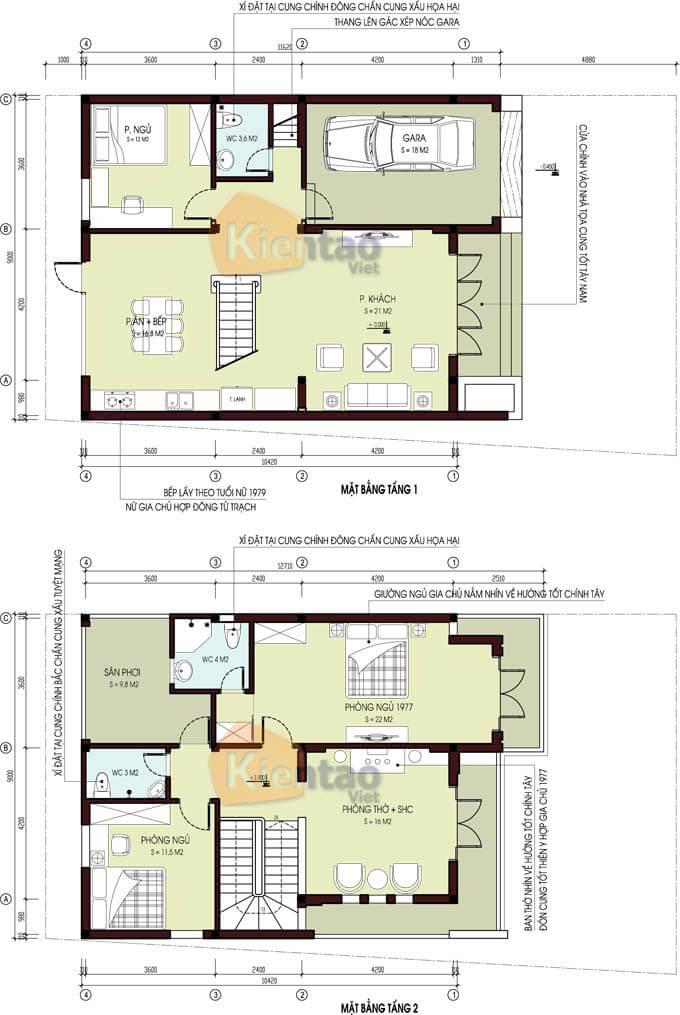 Mặt bằng thiết kế biệt thự 2 tầng tại Sơn La