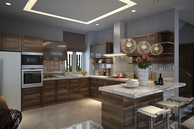 Phòng bếp mẫu biệt thự 2 tầng cách tân đẹp