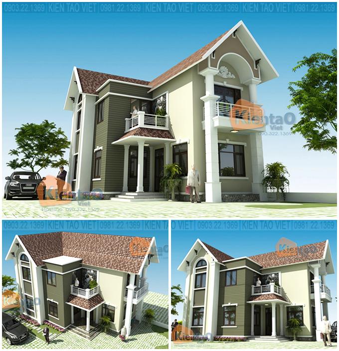Phối cảnh kiến trúc - Mẫu biệt thự nhà vườn 2 tầng 96m2 ở Hà Giang