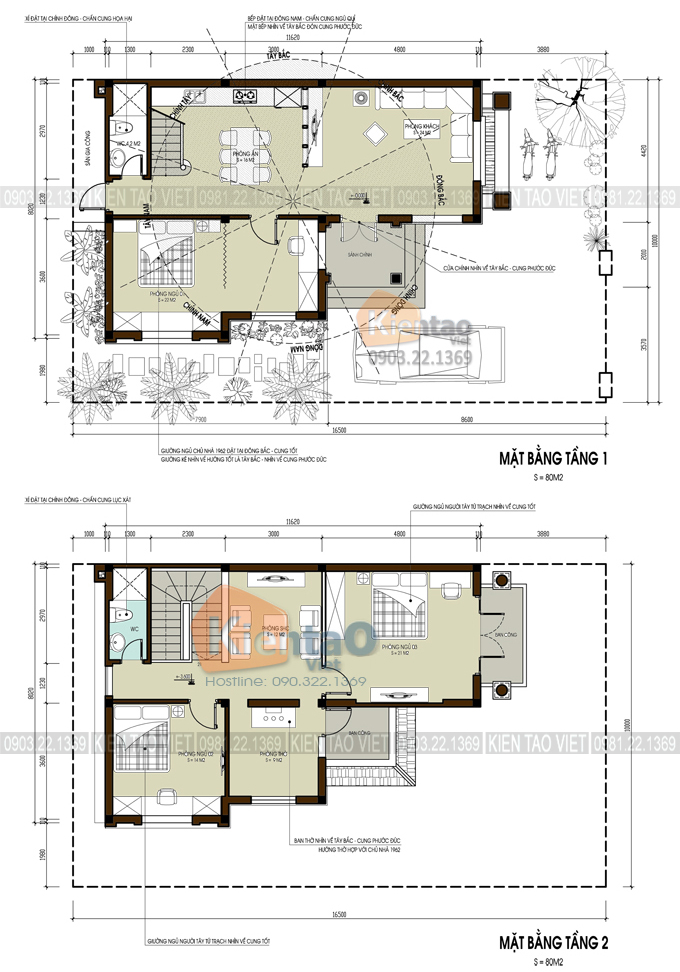 Mặt bằng công năng tầng 1 + 2 - Mẫu biệt thự nhà vườn 2 tầng 96m2 ở Hà Giang