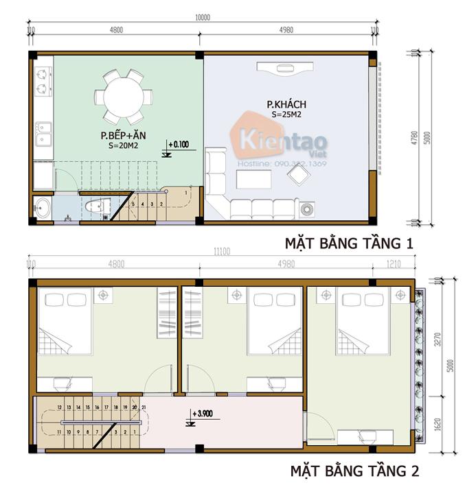 Bản vẽ mẫu nhà ống 2 tầng 3 phòng ngủ diện tích 5x10m
