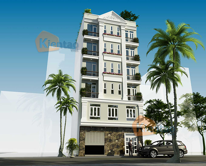 Mẫu nhà ống chung cư mini cho thuê 6 tầng 8.25x9.5m tại Thanh Trì, Hà Nội - Phối cảnh 01