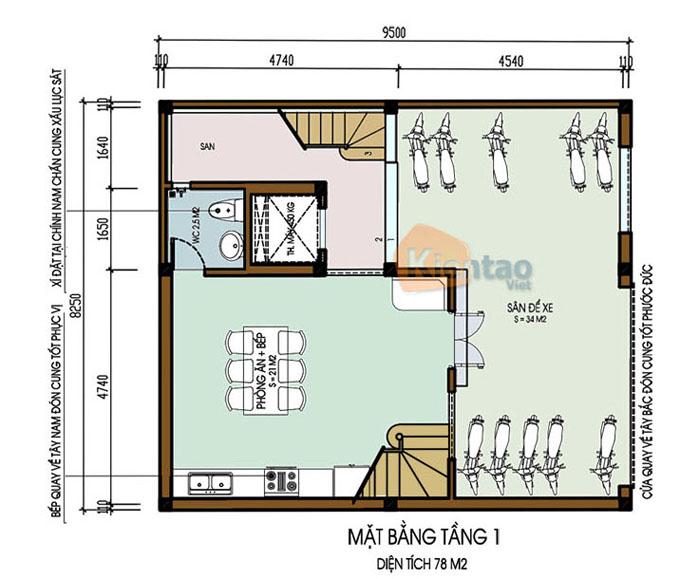 Mẫu nhà ống chung cư mini cho thuê 6 tầng 8.25x9.5m tại Thanh Trì, Hà Nội - Công năng tầng 1