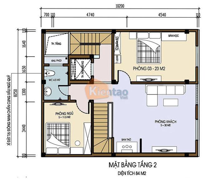 Mẫu nhà ống chung cư mini cho thuê 6 tầng 8.25x9.5m tại Thanh Trì, Hà Nội - Công năng tầng 2