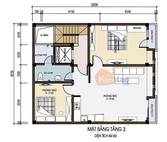 Mẫu nhà ống chung cư mini cho thuê 6 tầng 8.25x9.5m tại Thanh Trì, Hà Nội - Công năng tầng 3