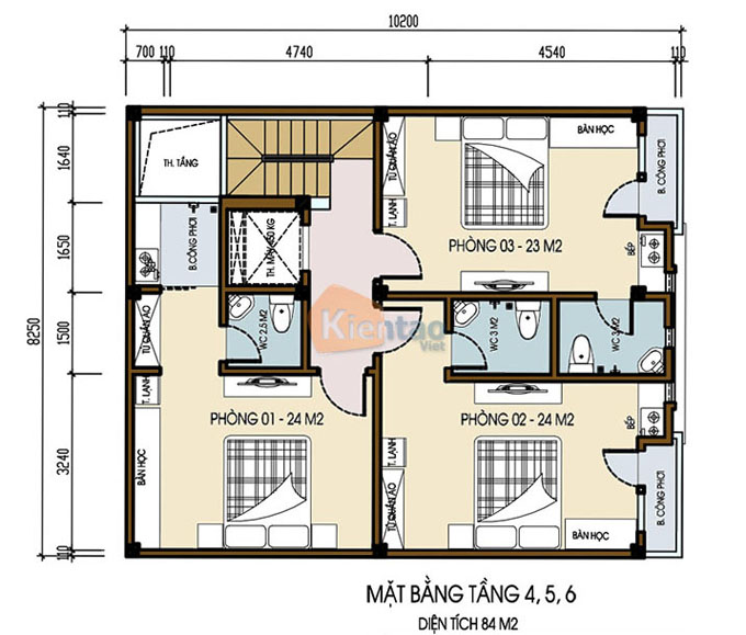 Mẫu nhà ống chung cư mini cho thuê 6 tầng 8.25x9.5m tại Thanh Trì, Hà Nội - Công năng tầng 4+5+6